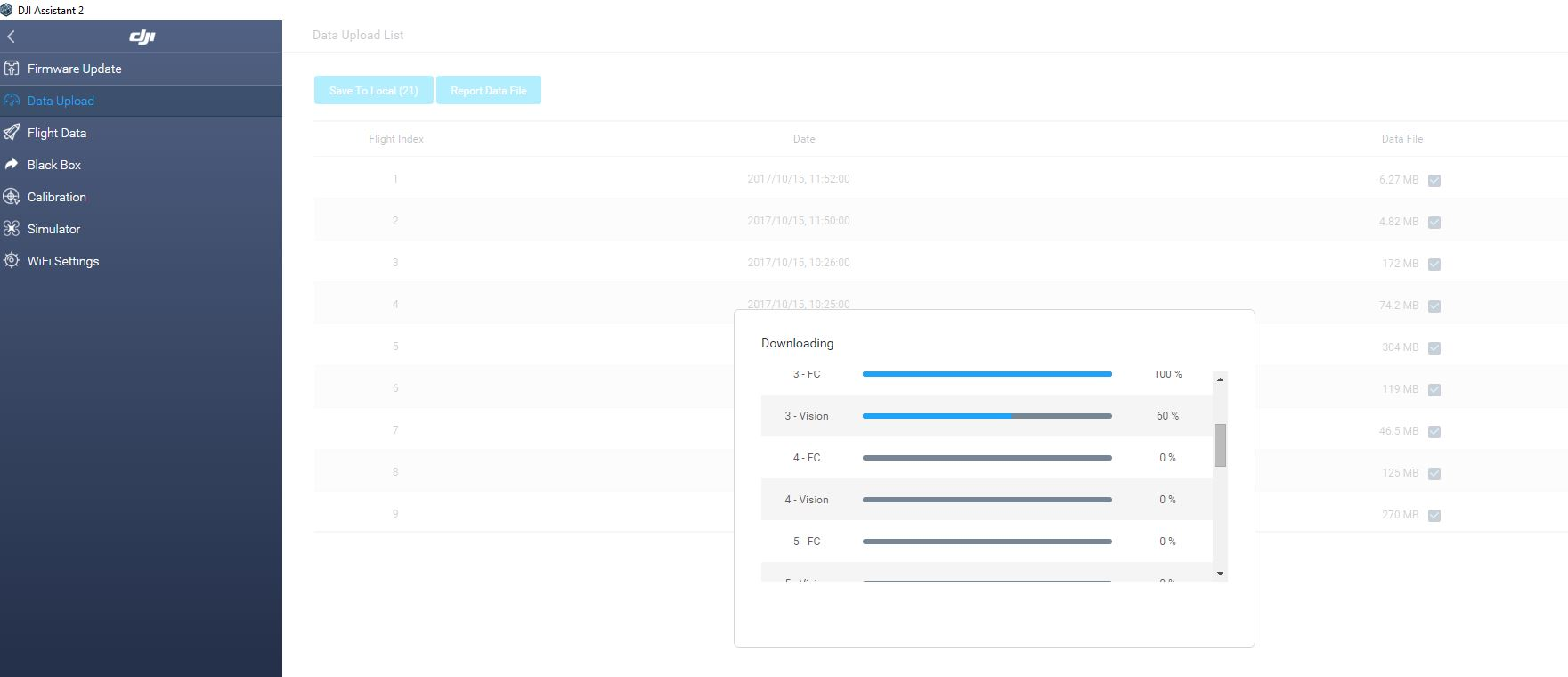 DJI Assistant 2 Mavic Data Upload
