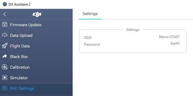 DJI Assistant 2 Paramètres WiFi Mavic