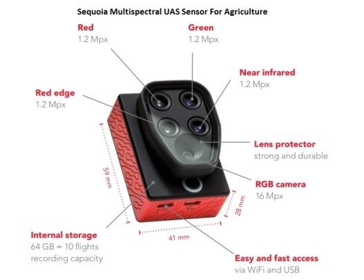 Capteur multispectral Sequoia pour l'agriculture de précision