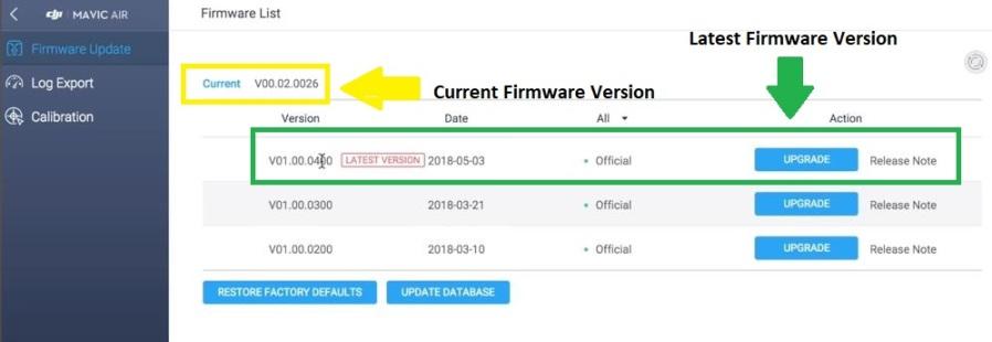 Instructions de mise à jour du micrologiciel Mavic Air à l'aide de l'application DJI Assistant 2